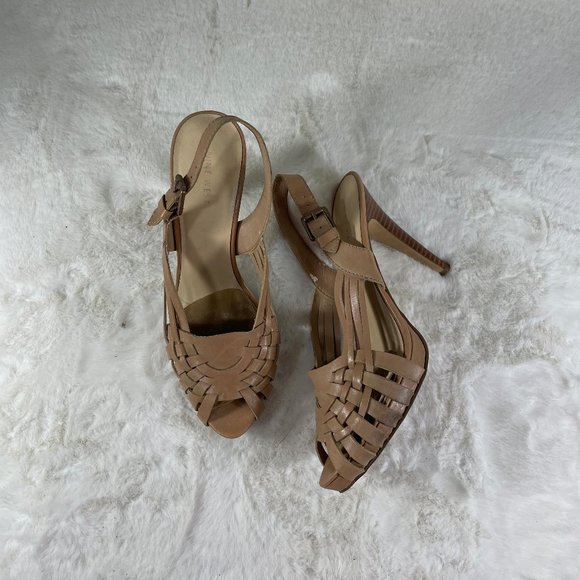 Nine West Nude Leather Sandal Strappy Size 10 Wooden Heel Buckle
